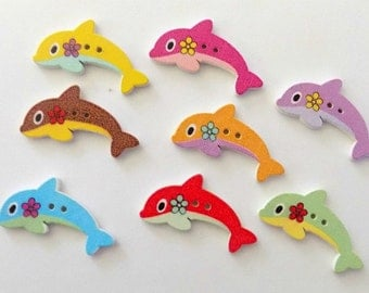 8 Wooden Dolphin Button -  #SB - 00152