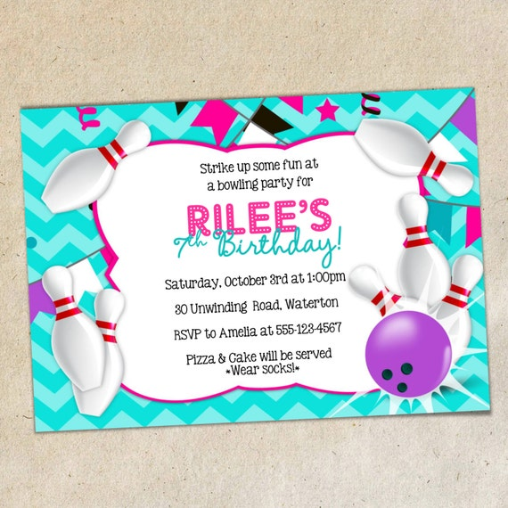 GIRLS Bowling Party Invitation TEMPLATE Girly Chevron – Bowling Invitation Template