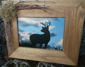 hunting picture frame,rustic wooden picture frame, rustic picture frame, rustic home decor, wooden picture frame,  5X7 rustic picture frame