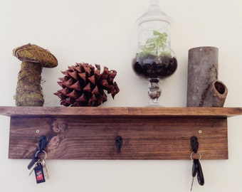 Rustic Shelf with Hooks- Farmhouse Shelves- Entryway Organizer- Rustic Shelves- Wall Shelf with Key Hooks- Rustic Entryway Shelf