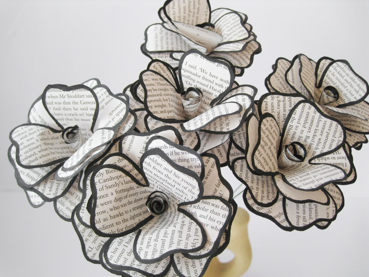 Set of 6 book page paper flowers stem roses book paper zoom dhlflorist Image collections