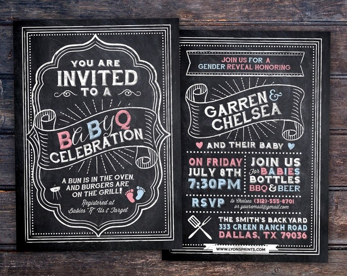 Gender reveal, BabyQ chalkboard couples co-ed Baby Shower BBQ invitation - babyq - boy girl,  baby is brewing, baby boy, baby girl shower