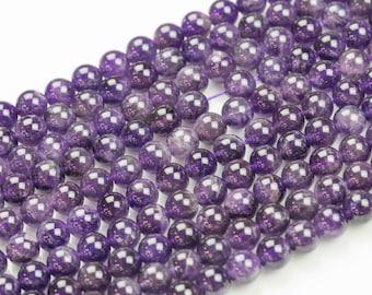 Natural AMETHYST Gemstone Beads Smooth Round 6mm, 8mm, 10mm-Full Strand 15.5 inch Strand