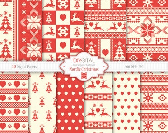 Nordic Christmas Digital Papers- Red nordic christmas paper pack- Scandinavian Style backgrounds- Cross-stitch- deer, heart, christmas tree