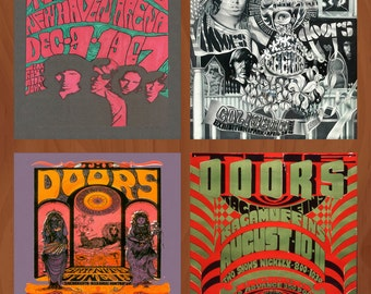 Handmade Ceramic Coasters - The Doors Concert Poster - Set of 4 - Jim Morrison