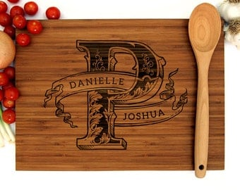 Personalized Wedding Gift, Custom Engraved Wood Cutting Board, Vintage Initial Monogram, Engagement Gift, Hostess Gift, Bridal Shower Gift