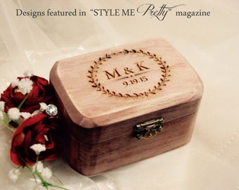 FAST SHIPPING, Rustic Ring Bearer Box, Wedding Ring Box, Ring Box, Country Pillow Ring, Personalized Ring Box, Engraved Ring Box