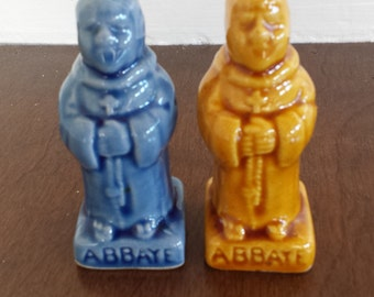 Vintage Mid Century Monk blue & yellow  salt and pepper shaker set