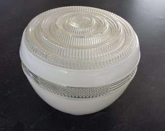 Mid Century Art Deco globe light cover white clear glass