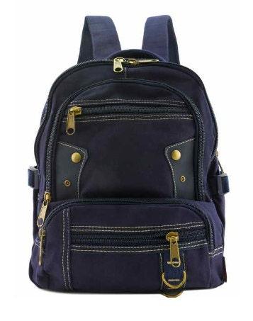 c5d4adbf76 Canvas Backpack Quality Travel Rucksack Rustic Style Blue School Bag