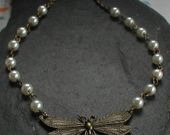 Vintage Inspired Antique Bronze Dragonfly Necklace Ivory Pearl Glass Beads