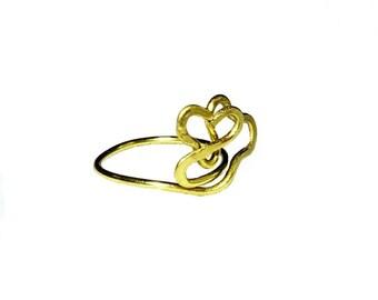 """Lover's Embrace RingBrass Heart """"Staryi Tartas Lovers"""" Ring"""