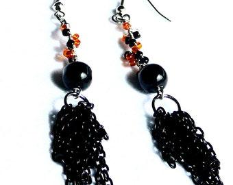 Earrings - Black and Orange Halloween Handmade Earrings - Black Cat Halloween Earrings