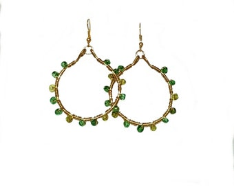 Hoop Earrings-Green and Gold Wire Wrapped