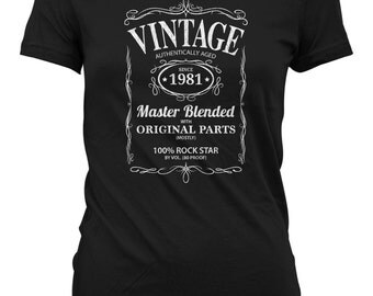 Vintage Whiskey Label Birthday Shirt Born 1981 - Celebrating 35th Birthday, Gifts for Him, Gifts for Grandpa, Gifts for Dad Bourbon CT-1070