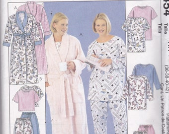 McCalls 3454  Vintage Pattern Womens Pajamas  and Robe in Variations Size 18,20,22,24  UNCUT
