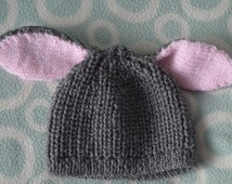 Bunny Ear Hat, Donkey Ear Hat, newborn baby hat, novelty baby hat, photo prop hat,  0-6 months through to 2-3 years