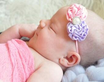 Pink Purple Headband 2 Small Puffs with Pearl Resin Rhinestone Newborn on Clip or Skinny Elastic Newborn - Adult