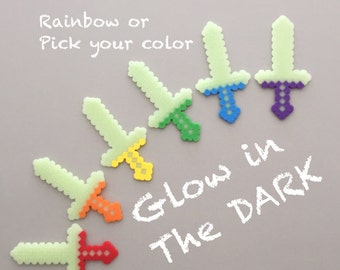 Minecraft Inspired - Party Gift - Glow In the Dark - Gift Bag Toy - 8 bit Swords - Set of 6