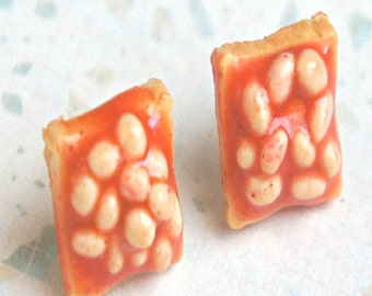beans on toasts earrings-food jewelry, miniature food earrings
