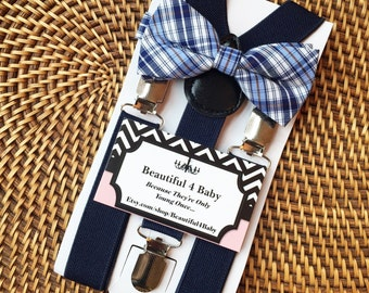 Navy Blue Suspender and Bowtie Set- 6 Months to 5 Years Old