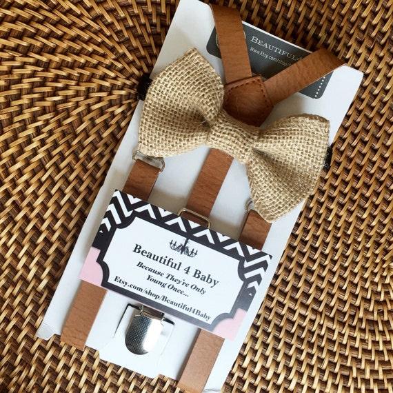 burlap bow tie amp suspender set burlap ring by beautiful4baby