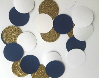 Anchors Aweigh glitter gold confetti Navy Blue and white 50 or 100 pcs