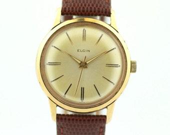 Vintage Elgin Gold Tone Stainless Steel Lizard Grain Hand Winding Men's Watch