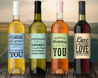 Birthday Gift - Birthday Wine Label - Custom Wine Label - Personalized Wine Label -