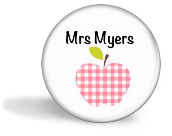 Teacher Magnet Personalised Gingham Apple 5.7cm (2.25 inches)