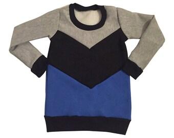 Boys Color Block Sweatshirt Royal Blue/Black/Heather 3 Months-5T