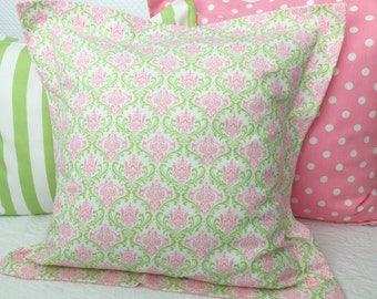 SALE Euro Sham Girls Bedding Pink & Green