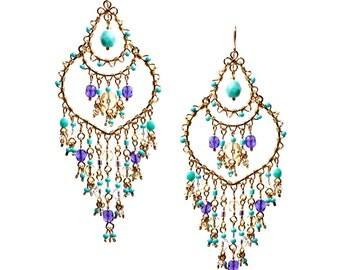 Multi Color Beaded Chandelier Earrings