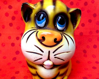 1960's Yellow Sad Eyed Tiger Coin Bank.  Creepy Cute Chalkware!