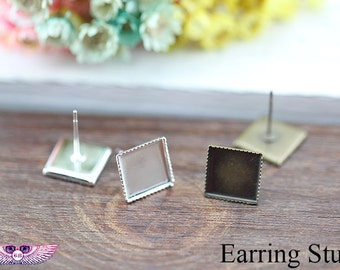 Plain Square Earring - Post Earring Blank-Ear Stud Blank - 10mm 12mm Square Earring Studs - Bezel Earring-Square Glass Cabochons in optional