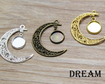 New Moon Bezel Kits, Moon Charm, Moon Pendant, New Moon, Crescent Moon Bezel Kits