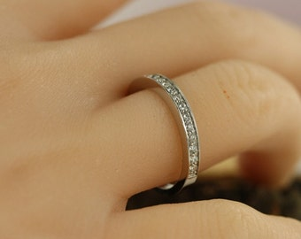 Size 7.25 Diamond Wedding Ring Band in 14k White Gold Diamond Anniversary Ring Band 14k Solid Gold Diamond Band