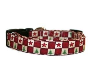 Christmas Checkers Dog Collar