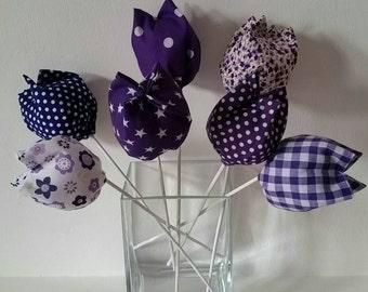 Fabric flowers,  7 tulip stems - deep purple
