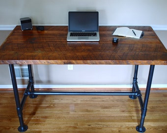 Industrial Pipe Desk, Reclaimed Wood Desk, Industrial Desk, Reclaimed Office Furniture, Pipe Desk