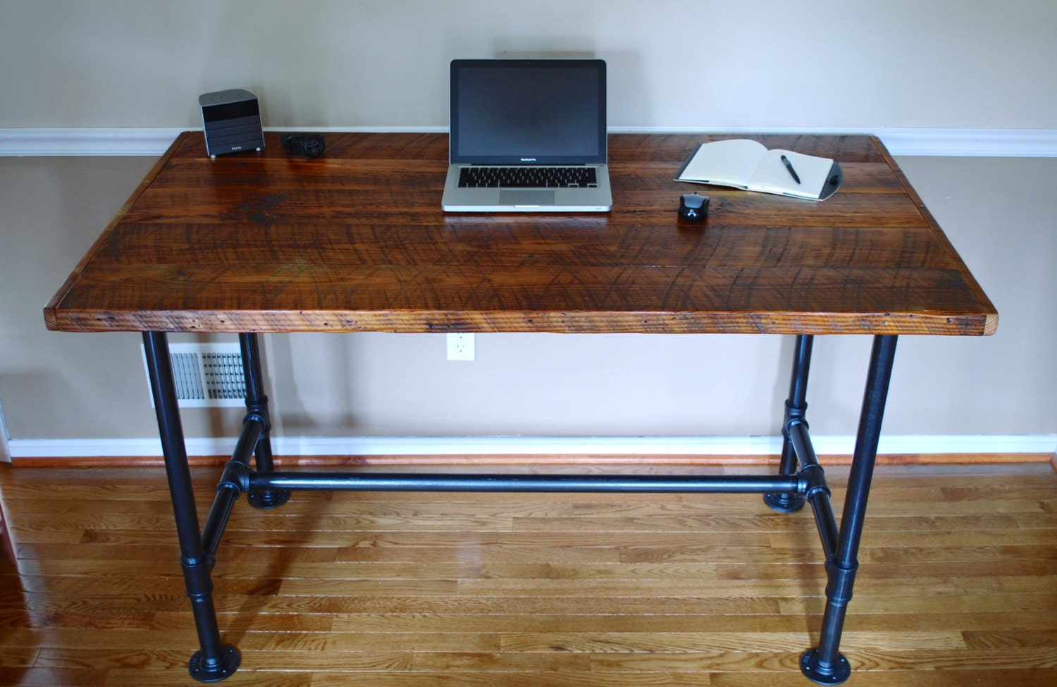 Reclaimed Wood Desk ~ Pipe desk extra thick reclaimed wood industrial