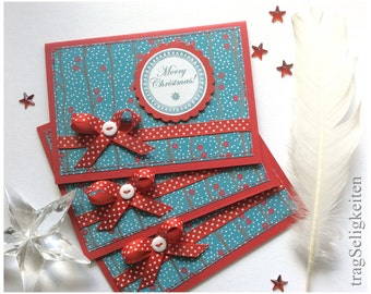 Christmas cards, holiday greeting cards, Merry Christmas, season greetings, red and blue, polkadot bow, buttons, set of three