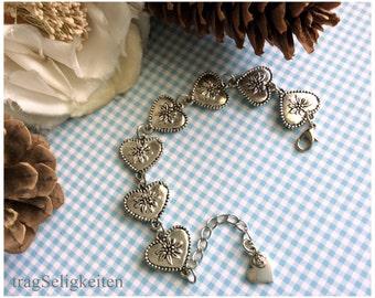 Oktoberfest bracelet with hearts and edelweis, edelweiss bracelet, link heart bracelet, Oktoberfest  jewellery, edelweiss jewellery