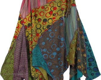 Asymmetrical Banjara Patchwork Skirt