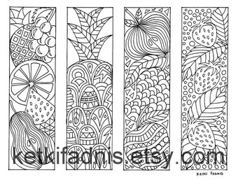 coloring bookmarks fruits bookmarks coloring page instant pdf download digital download hand - Halloween Bookmarks To Color
