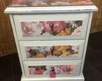 Unique upcycled 3-drawer bedside chest, Duck-egg blue & 1960s flower print, shabby chic
