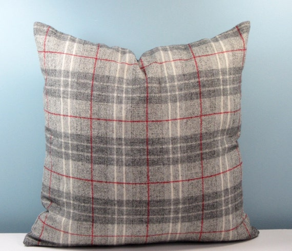 Grey Wool Throw Pillow : Wool pillow. Gray Plaid throw pillow cover. 18x18 Menswear