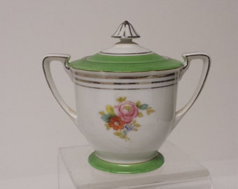 Vintage Noritake Sugar Bowl w/Lid and 2 Handles; Scalloped Edge on Top; Platinum Edging in Excellent Condition; Japan