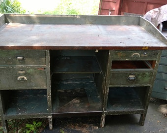 Green Wooden Workbench