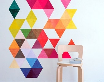 Colored Triangles Mid Century Modern Danish Modernist Stickers Decals - SKU:DanTri